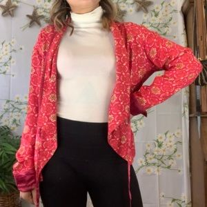 Oilily pink and red multi-way cardigan / wrap top